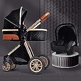 FXBFAG - Carrito de bebé portátil con 3 sillas de paseo plegables, colocación bidireccional, ruedas amortiguadoras, carrito con bolsa mamá y manta de lluvia