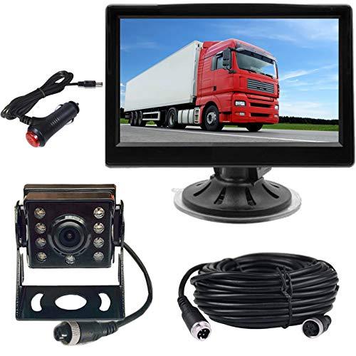 HUACANG - Telecamera di retromarcia per auto, 4 pin, 12 V-24 V, schermo TFT LCD HD a colori + 8 LED IR visione notturna impermeabile