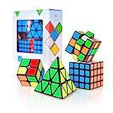 CUBIDI® Zauberwürfel Set - Zauberwürfel 2x2 + 3x3 + 4x4 + Pyramide - Set mit spannende Brainteaser für Kinder und Erwachsene (mit Sticker)