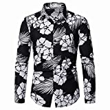 Camisas De Manga Larga Para Hombre - Camisa De Lujo Hawaiana Para Hombre - Camisa Informal De Manga Larga Con Botones Aloha - Flor Gris Abstracta Impreso Transpirable Clásico Top De Vacaciones En