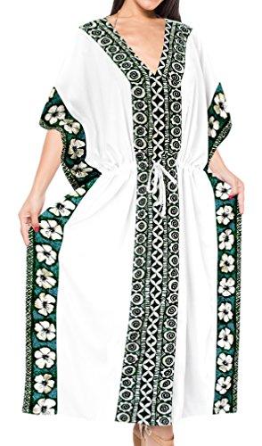 LA LEELA Mujeres caftán Rayón túnica Sólido Plain Kimono Libre tamaño Largo Maxi Vestido de Fiesta para Loungewear Vacaciones Ropa de Dormir Playa Todos los días Cubrir Vestidos Ghosts Blanco_B985