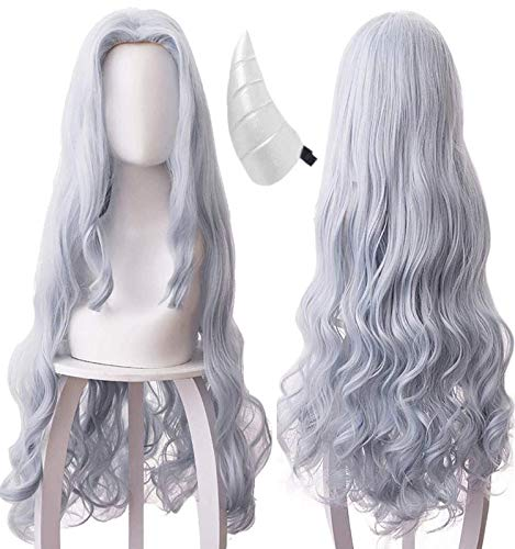 ANOGOL Wig+{ 1 Horn } Gray Blue Wigs Long Wavy Cosplay Wig Gray Blue Wavy Synthetic Wigs for Women Girls