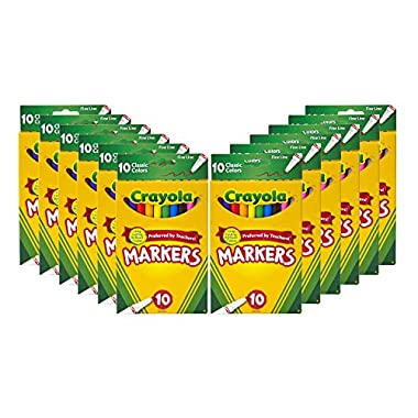 Crayola Fine Line Markers Bulk, 12 Marker Packs with 10 Colors, Multi