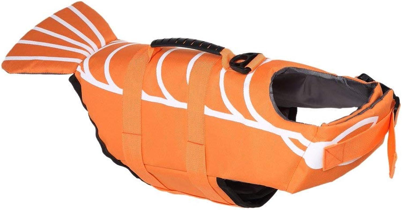 Dog Life Jacket Vest Saver Safety Swimsuit Preserver with Reflective Stripes Adjustable Belt for Dog,orange,M