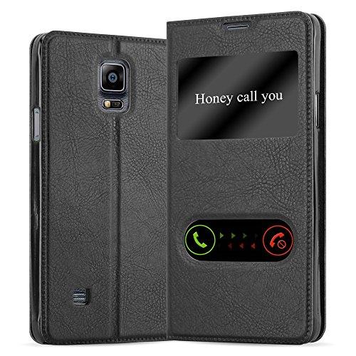 Cadorabo Hülle für Samsung Galaxy Note 4 in KOMETEN SCHWARZ – Handyhülle mit Magnetverschluss, Standfunktion & 2 Sichtfenstern – Hülle Cover Schutzhülle Etui Tasche Book Klapp Style