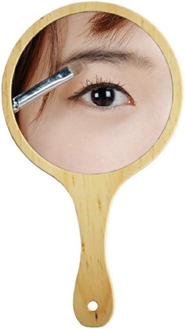 ZWeiD Wooden High order Hand Mirror Rare Portable Shavin Small Round Men