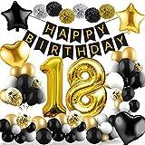 Amteker 18 Geburtstag Dekoration Schwarzes Gold – 39 Stück Geburtstag Deko, Happy Birthday Banner, Konfetti Luftballons, Riesen Zahl Folienballons, 18. Geburtstagsdeko für Mädchen und Jungen