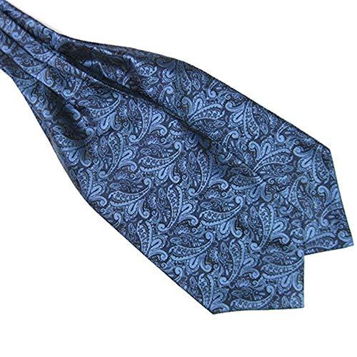 Verlike - Cravatta Ascot / Plastron, Da Uomo, Alla Moda, In Raso, Da Annodare, Misto Seta, Per Matrimoni Dark Blue Taglia Unica