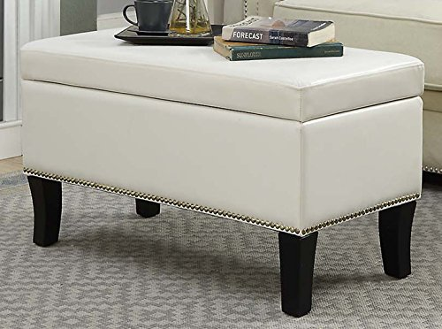 Convenience Concepts Designs4Comfort Winslow Storage Ottoman, Ivory