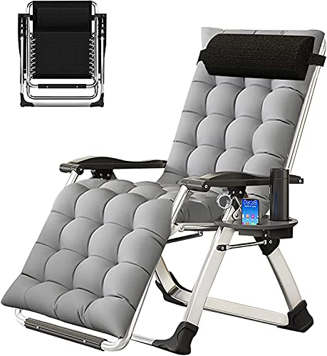 SLSY Chaise Lounge Chair, Zero Gravity Lounge Chair with Removable Pad & Cup Holder for Indoor and Outdoor, Ergonomic Patio Recliner, Folding Lounge Chair for Adults, Gray