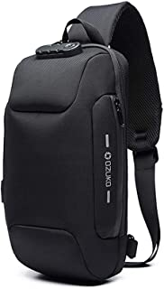 Anti Theft Sling Bag with USB Charging Port Casual Lightweight Chest Crossbody Daypack Waterproof