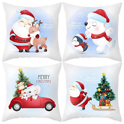 Rameng 4 Pack Fundas de Almohada Decorativas con diseño de Navidad,Algodón Lino Throw Pillow Case Funda de Almohada para Cojín
