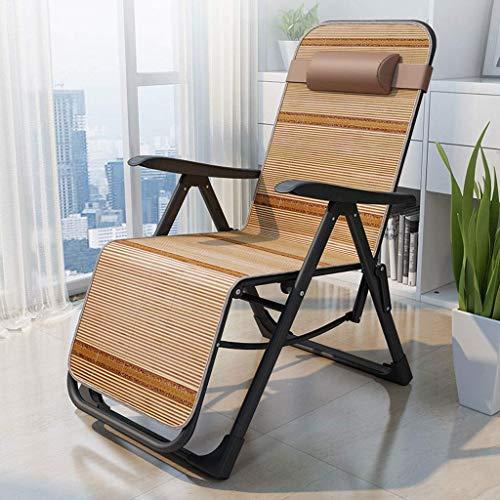 FTFTO Chaise Longue Office Life Chaise Longue Zero Gravity Balcon inclinable, avec Coussins en Bambou pour Personnes Lourdes Transats extérieurs réglables (Couleur: Tube Plat Rouge)