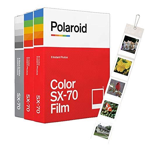 Polaroid Originals SX70 Core Film, 3er-Pack (2 Farben, 1 Schwarz-Weiß) + Wandalbum