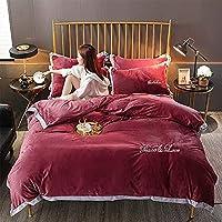 寝具セット4個大人の高級ホームテキスタイル無地ブルー羽毛布団カバー綿冬の厚みを保つために暖かい抗アレルギー抗しわキングクイーンサイズキルトカバー簡単な寝具 CCAN