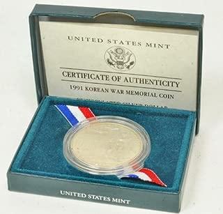 1991 US Korean War Memorial Uncirculated Silver Dollar Coin Nib COA