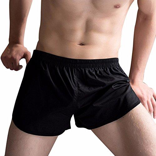 Lenfesh Homme Short de Sport Loisirs avec Bords Colorés Casual Course Yoga Mode Plage (XXL, Noir)