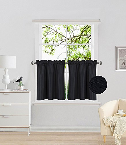"""Elegant Home 2 Panels Tiers Small Window Treatment Curtain Insulated Blackout Drape Short Panel 28"""" W X 24"""" L Each for Kitchen Bathroom or Any Small Window # R16 (Black)"""