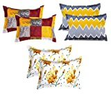 BSB HOME Cotton 120 TC Pillow Cover, King, Multicolour, 6 Pieces