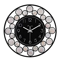 Wall Clock 15Inch Handmade Iron Metal Combined Artwork of Deep Sea Shells Battery-Driven Silent Operation, No Ticking, Suitable for Living Room Bedroom Decoration