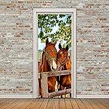 3D Tür Aufkleber PVC Vinyl Wasserdicht Zwei Pferde Poster