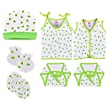 Material: Cotton, Color : Green, Pattern : Cherry Printed Age Group : 0 to 6 Months Pack Contains : 1 Cap, 1 set of Mitten and Botties, 1 Button Jhabla, 1 top knot Jhabla and 2 Nappy Purpose : Reusable Nappy, Adjustable knot Wash care : Normal Wash, ...