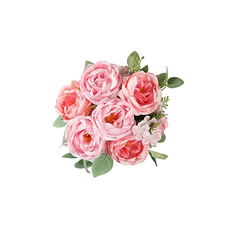 silk flower arrangements floweroyal artificial peony vintage faux camellia silk flowers bridal bouquets with 6 bloomed flower heads for wedding table centerpieces home floral arrangements (pink)