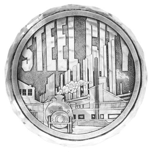 Wendell August Forge Pittsburgh Steel City Coaster, 4.5' Round - Detailed Hand-Hammered Aluminum Drink Coaster - Made in the USA (Steel City)