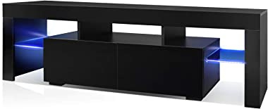 WLIVE Modern Black TV Stand with LED Lights, LED TV Cabinet, High Gloss Television Stand for TV up to 65 Inch, Entertainment