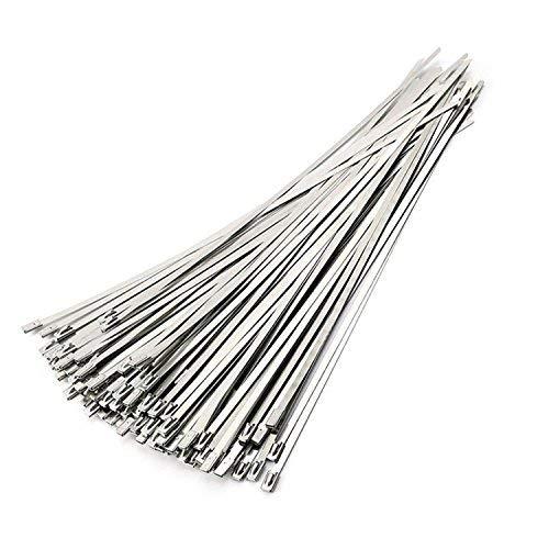 50 piezas 4.6 mm x 100 mm Bridas para Cables de Acero Inoxidable, Metal Cable Ties, Lazos de cremallera de acero inoxidable (Plata)