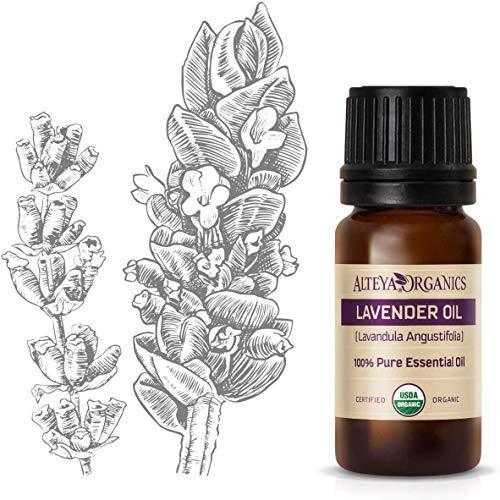 Aceite esencial orgánico de lavanda (Lavandula angustifolia) marca Alteya, de 10ml. Con certificación orgánica USDA, 100% puro y auténtico, natural, destilado al vapor de flores de Lavandula Angustifolia búlgaras frescas