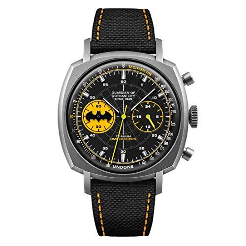Undone Batman Caped Crusader Chronograph Mechanische Hybrid Quarz Titan Schwarz Stoff Gelb Herren Uhr