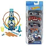 Hot Wheels Track Building Pista Triple Looping, Pista de Coches de Juguete + Pack de 5 vehículos,...