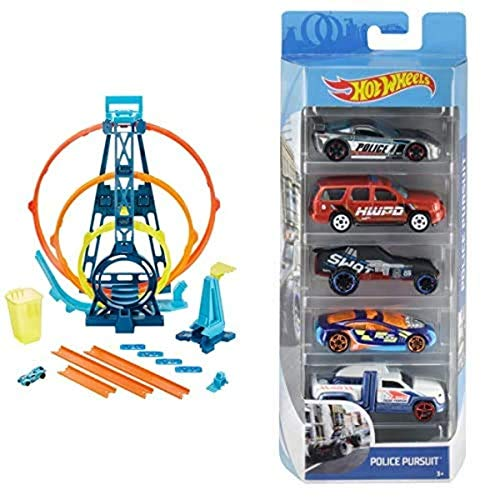 Hot Wheels GLC96 - Track Builder Unlimited Looping Set, Spielzeug ab 6 Jahren+01806 5er Pack 1:64 Die-Cast Fahrzeuge Geschenkset, je 5 Spielzeugautos, zufällige Auswahl, ab 3 Jahren+