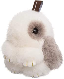 DELORESDKX Mink Bunny Keychain Fluffy Fur Key Chain Rabbit for Women Valentine Gift Bag Charms Car Keyring (White&Gray)
