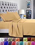 Elegant Comfort Juego de sábanas de 1500 Hilos, Calidad egipcia, Supersuave, Antiarrugas y Resistente a la decoloración, 4 Piezas Matrimonio Dorado