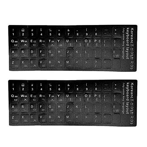 perfk 2 Stück Tastaturaufkleber Tastatur Schutzfilm Laptop Tastatur Aufkleber koreanische Tastatur Buchstaben Layout