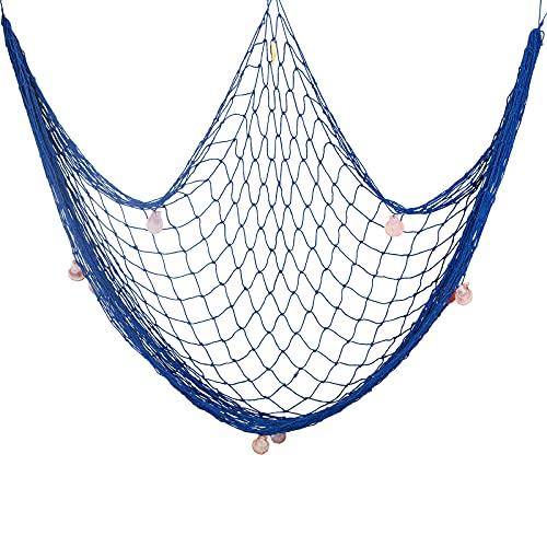SUPERFINDINGS Red de Pesca con Conchas Tema de Playa Estilo Mediterráneo Decorativo Náutico para Fiesta Hogar Dormitorio Decorativo Azul 39.3x78.7 Pulgada