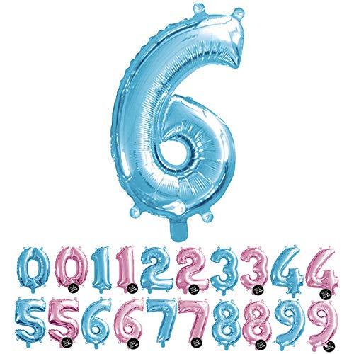 Haioo Globo Número de Cumpleaños en Metalizado Ideal para Fiesta de cumpleaños y Aniversarios Hinchable y Deshinchable (Azul 6)