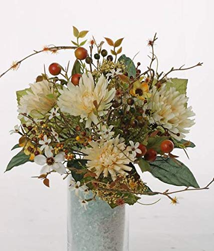 artplants.de Künstlicher Herbststrauß WERA, Chrysanthemen, Beeren, weiß - gelb, Ø 20cm - Erntedank Deko - Kunstblumen Strauß