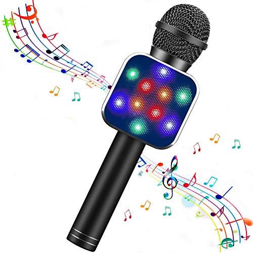 Micrófono Bluetooth Karaoke, micrófono inalámbrico portátil Karaoke con luces LED y altavoz para niños Sing Music Match, compatible con PC Android/iOS, AUX o teléfono inteligente (Black)