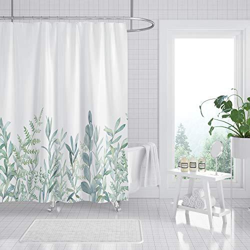MundW DasDesign Duschvorhang grüne Pflanzen Badezimmer Blätter Textil Vorhang Antischimmel Effekt waschbar Blumen Shower Curtain Badewanne inkl. 12 C-Ringe Gewicht unten 200 x 220 cm