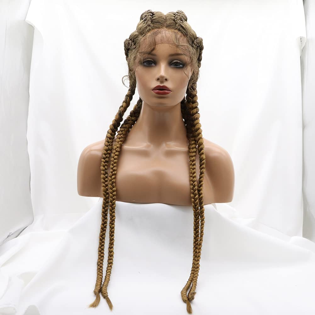 Mix Brown 4 Twist Now free shipping Braid 55% OFF Lace Front Wigs Br Ombre Long Fully Hand