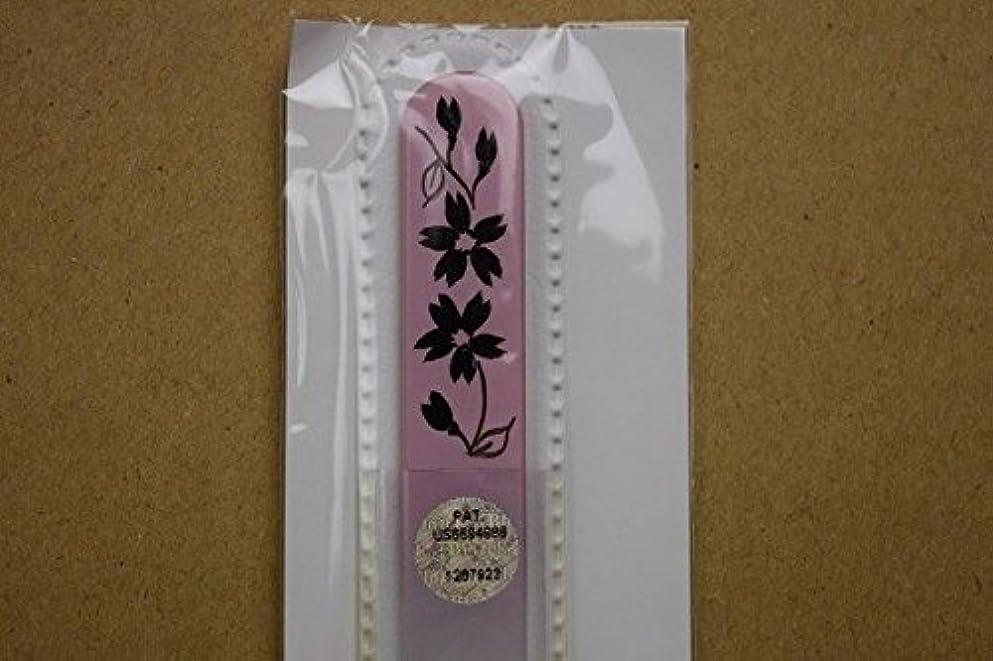 雇用確立症候群【ブラジェク】ガラス爪やすり ハンドペインティング (#503P) 黒色の花(本体が、一部ピンク色)