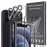 LK 6 Pack Protector de Pantalla Compatible con iPhone 12 Mini 5.4 Pulgada,Contiene 3 Pack Cristal Vidrio Templado y 3 Pack Protector de Lente de cámara, Doble Protección,Marco de Posicionamiento