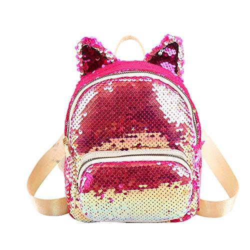 Hengheng-Shop Donne Gatto Orecchie Decorazione Zaini Ragazze Bling Scuola Borsa Femminile Pannellato Outdoor Paillettes Spalla Zaini, Rosso-1. (Rosso) - shoulder-handbags