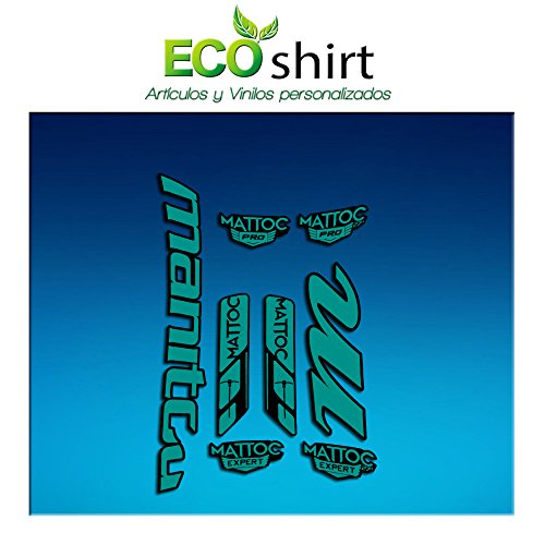 Ecoshirt QO-BP65-Z53Z Aufkleber Fork Manitou Mattoc Pro Expert Am182 Aufkleber Aufkleber für Gabel, Türkis