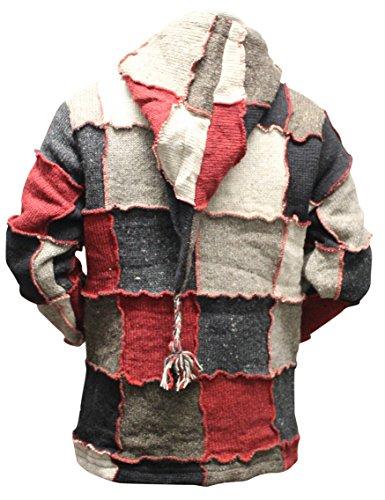 SHOPOHOLIC FASHION Elf Kapuzen Fest Flicken Nepalesisch Wolle Jacke mit Kapuze, Hippy - Mehrfarbig, Medium, Mehrfarbig