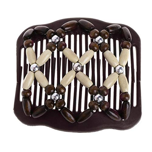 Steellwingsf vintage double Slide Clip Femme Headwear Perles de bois Magic Pique à cheveux Peigne à cheveux