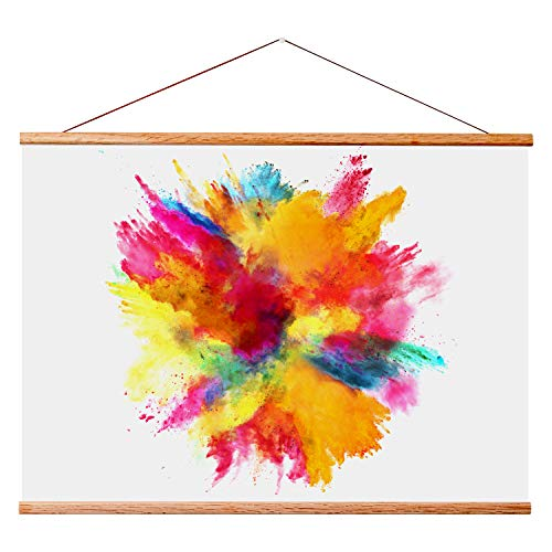 """Landmass 40"""" Wide Magnetic Poster Hanger Frame - 40x20 40x27 40x30 40x60 - Teak Wood Frame for Posters, Prints, Photos, Pictures, Maps, Scrolls, and Artwork - Wall Hanging Wooden Frame"""